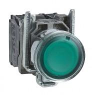 [슈나이더]XB4BW33M5 /조광누름버트 스위치/메탈 베젤 AC220V 녹색 1A1B접점