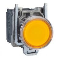 [슈나이더]XB4BW35B5 /조광누름버트 스위치/메탈 베젤 DC24V 황색 1A1B접점